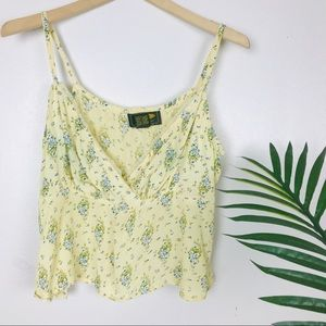 Free People Boho Yellow Floral Lace Trim Tank Top